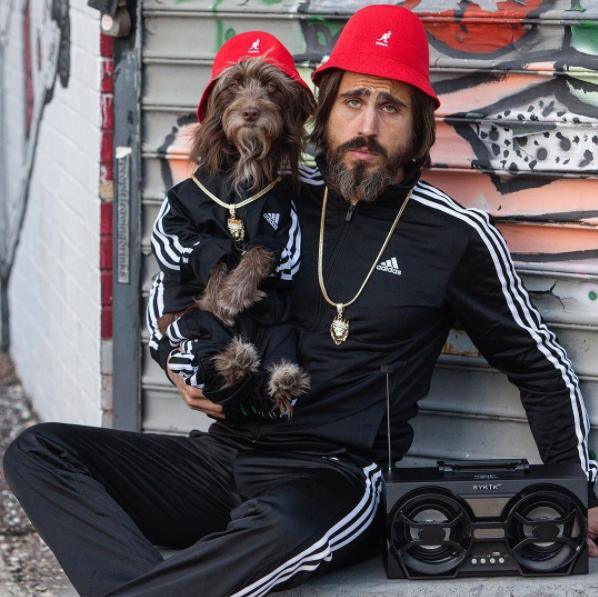perro y dueño calle