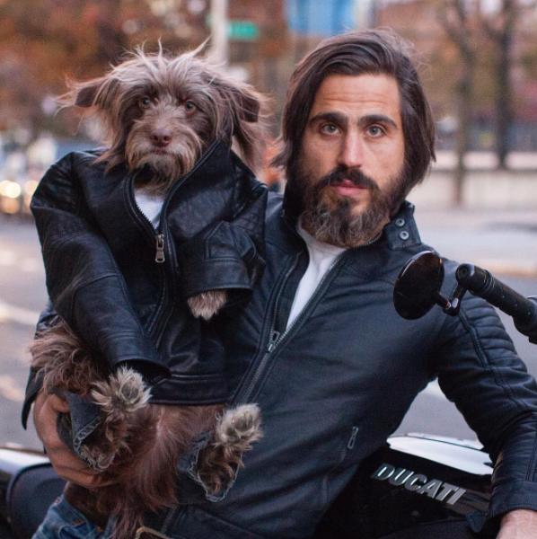 perro y dueño ropa rockeros