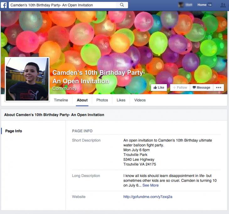 Invitación a fiesta en Facebook