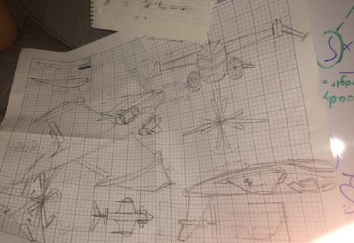 Planos de una máquina voladora