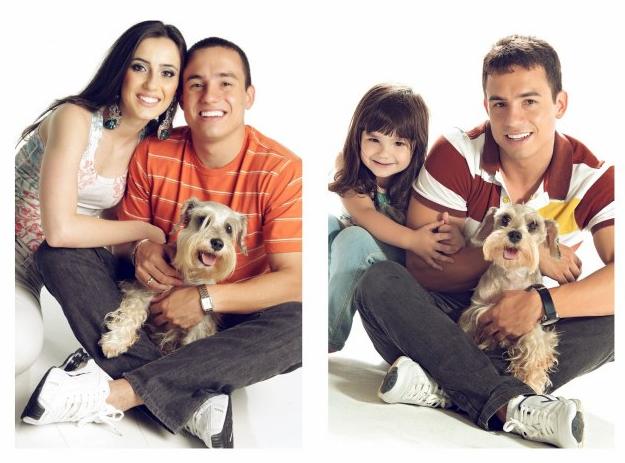 Rafael del Col y su hija sesión de fotos sentados perro