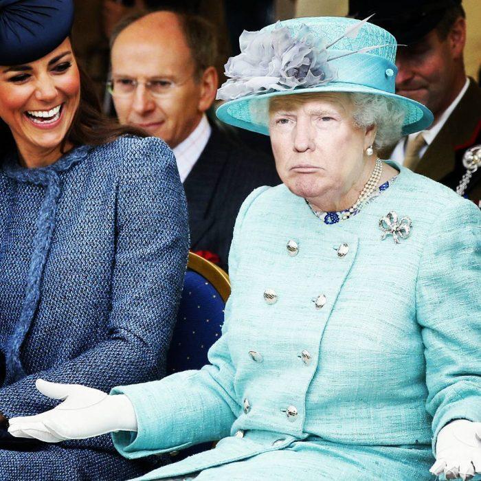 Trum y la reina Isabel vestido verde