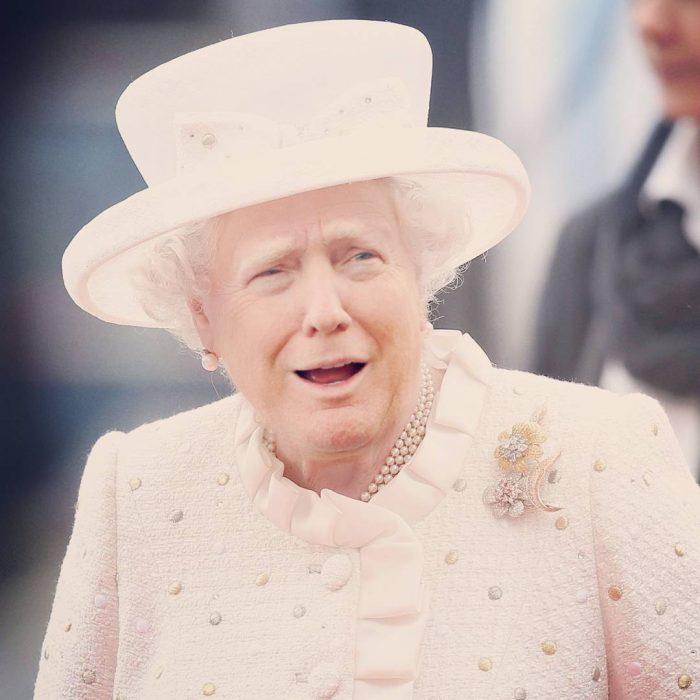 Trum y la reina Isabel vestido rosa y sombrero