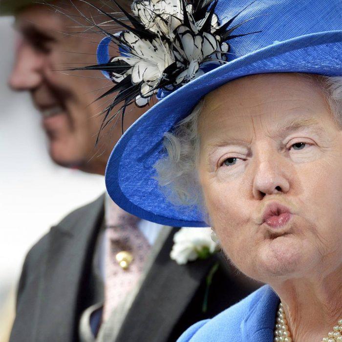Trum y la reina Isabel duck face