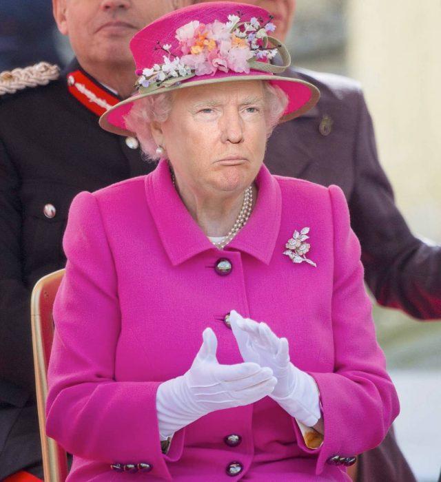 Trum y la reina Isabel aplaudiendo