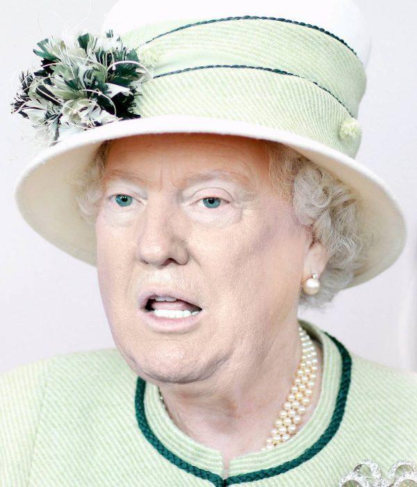 Trum y la reina Isabel sombrero y vestido verde limón