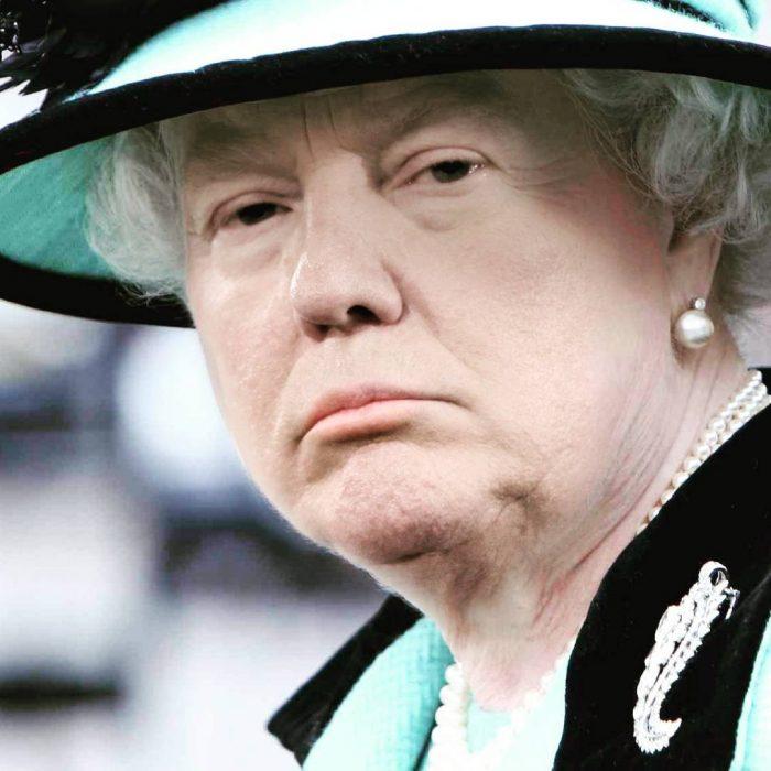Trum y la reina Isabel mirando molesto