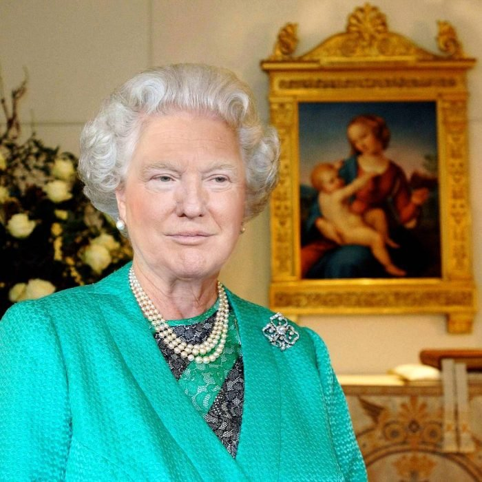 Trum y la reina Isabel vestido verde cuadro atrás