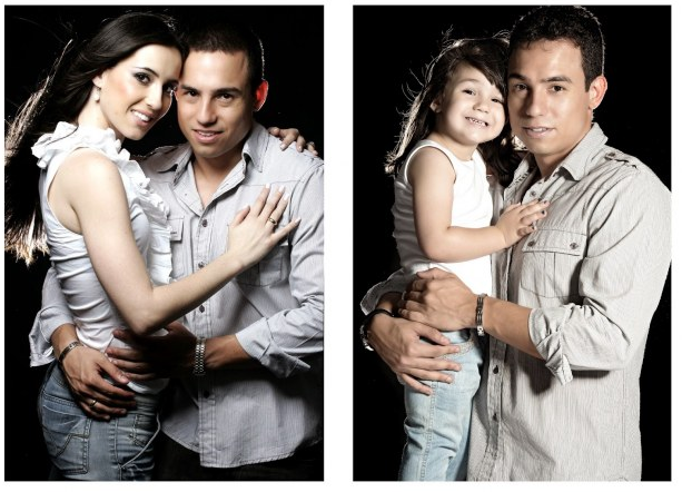 Rafael del Col y su hija sesión de fotos abrazo fondo negro