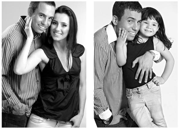 Rafael del Col y su hija sesión de fotos gris