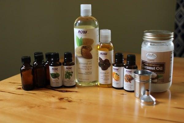 Botellas de aceites portadores y esencias