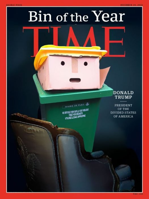 Batalla PS Trump basurero revista Time