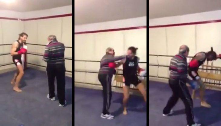 Abuelo proporciona golpiza a boxeador joven