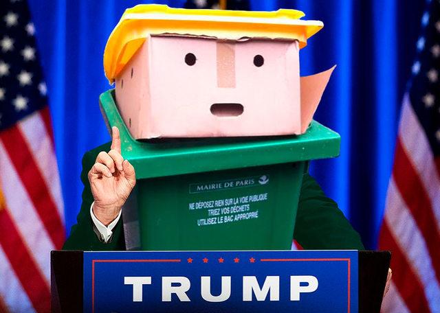 Batalla PS Trump basurero rueda de prensa