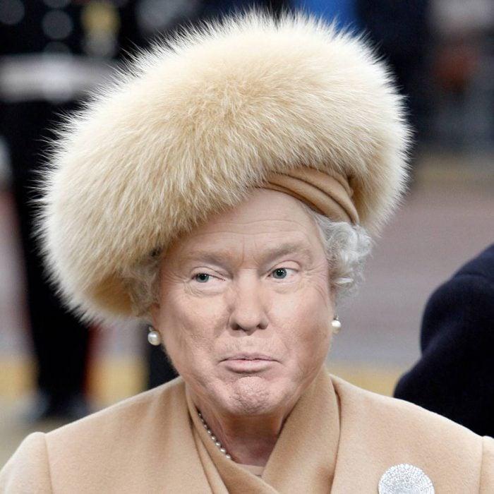 Trum y la reina Isabel sombrero afelpado