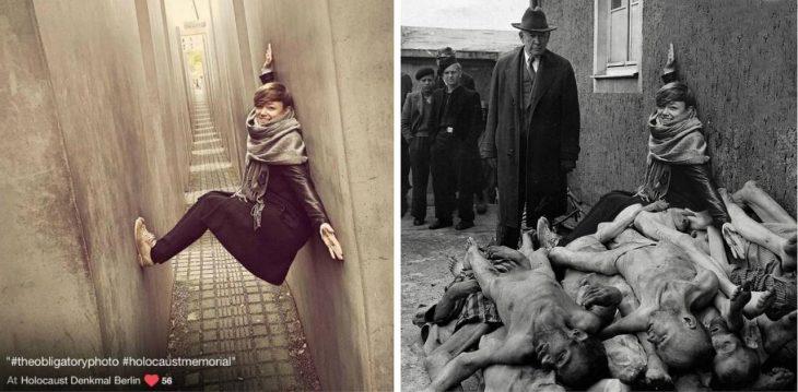 Yolocaust mujer sostenida en pared