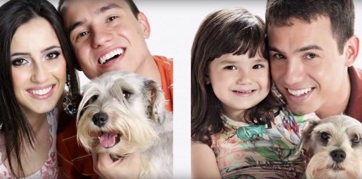 Rafael del Col y su hija sesión de fotos perro