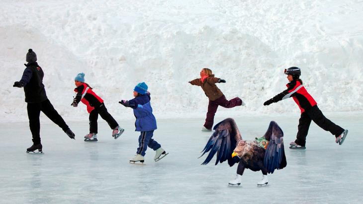 Batalla PS Águila patinando en hielo