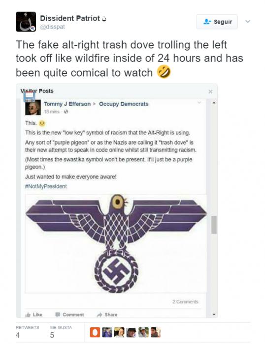 Twitter Comentario Trash Dove Nazi burla