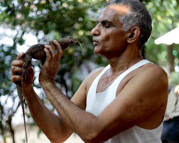 Dr. Pakash Amte con cocodrilo