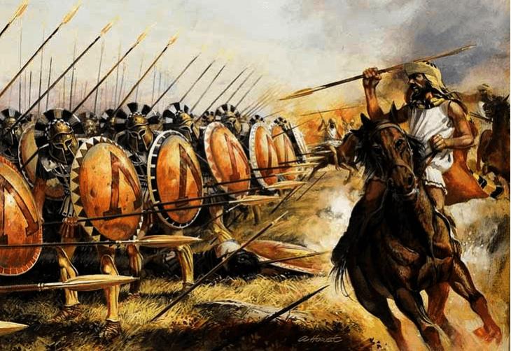 Ejército espartano luchando