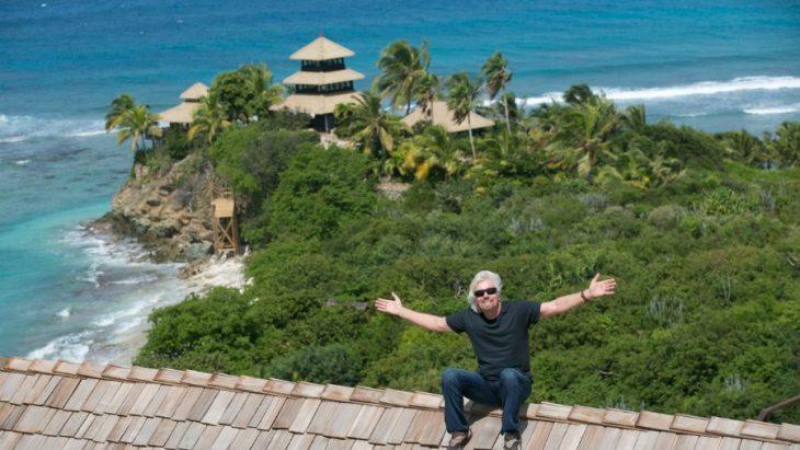 Richard Branson en su isla en el Caribe