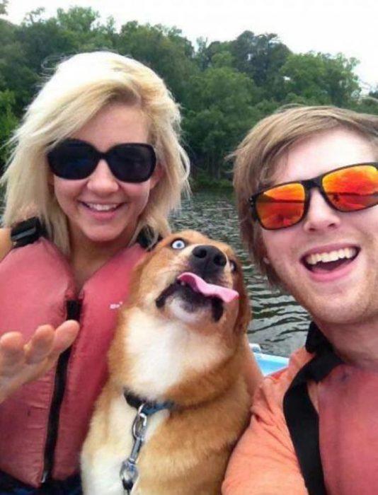 perro selfie dos rubias