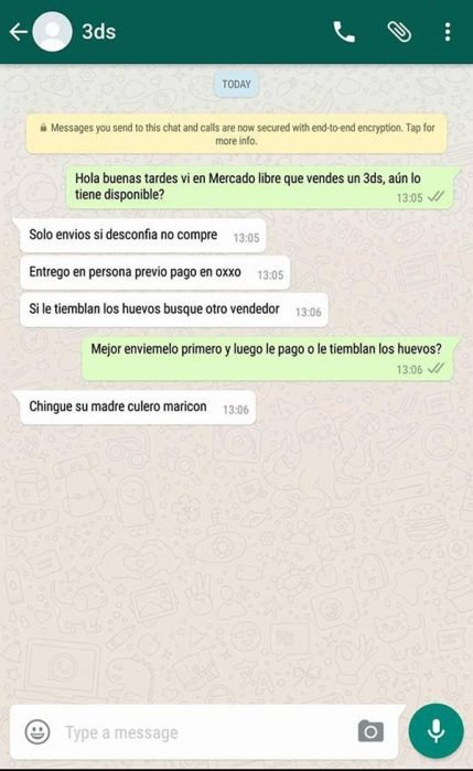 estafa mercado libre whatsapp