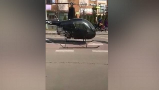 kid arrives to school in helicopter