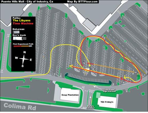 Mapa de la ruta del DeLorean