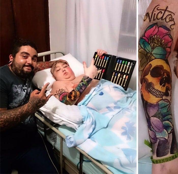 Niño enfermo con tatuaje