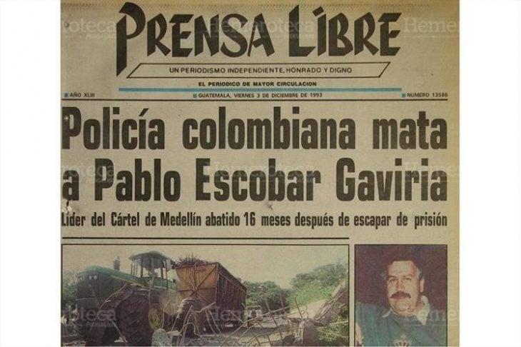 Noticia sobre la muerte de Pablo Escobar