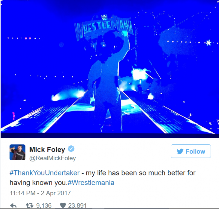 Mick Foley tweet undertaker