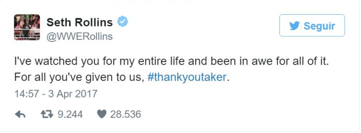 Seth Rollins Undertaker tweet
