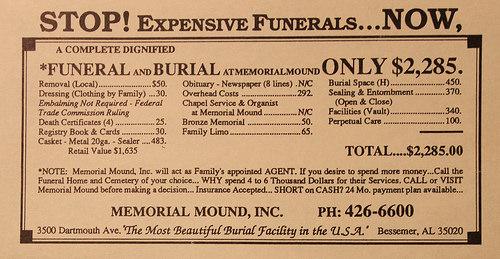 Oferta de servicios funerarios