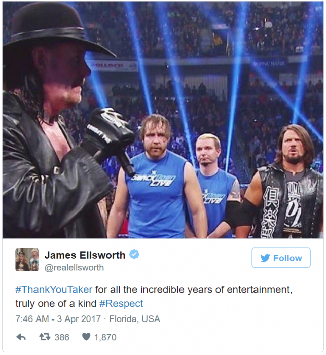 james Ellsworth tweet undertaker
