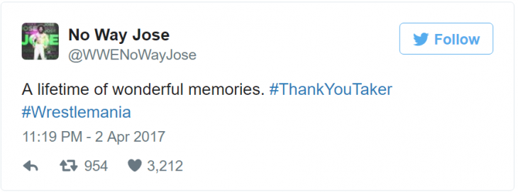 no way josé tweet undertaker