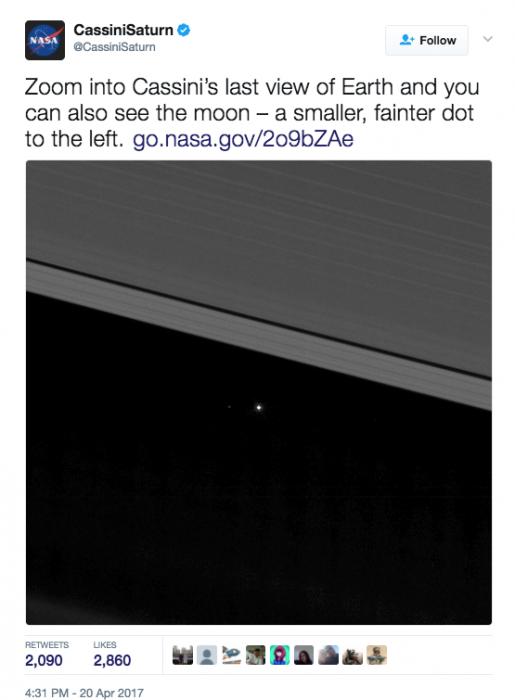 planeta tierra visto desde saturno NASA 1