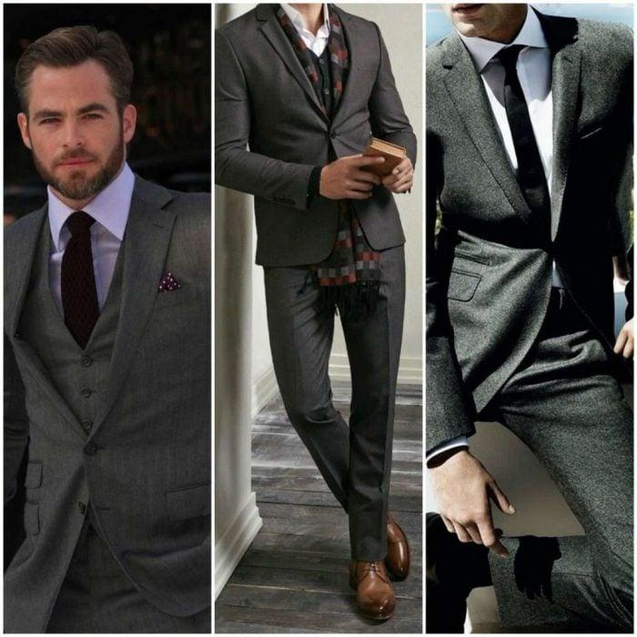traje gris