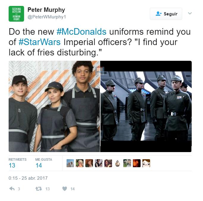 Univormes mcdonalds star wars