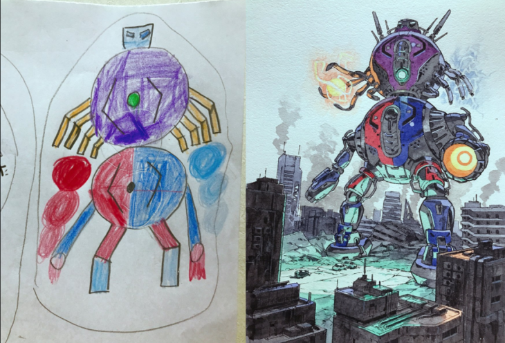 dibujos niño papa