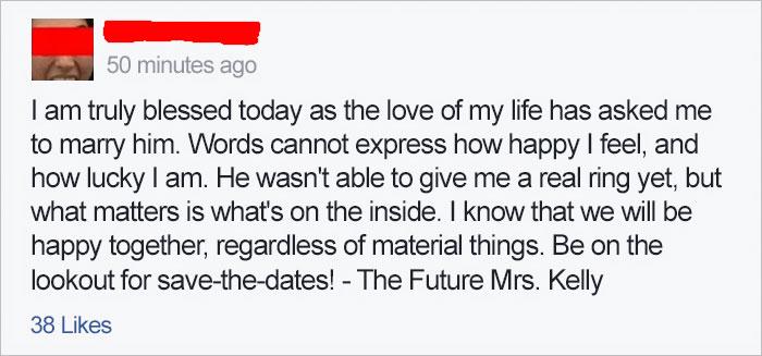 Publicaron una foto de su compromiso; no vieron lo que había al lado