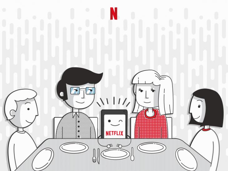 netflix en la mesa con la familia