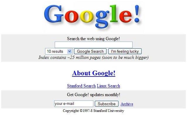 Página de inicio antigua de Google