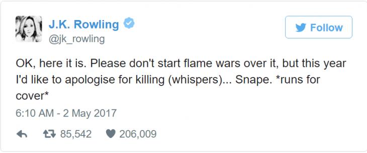 jk rowling se disculpa por la muerte de snape