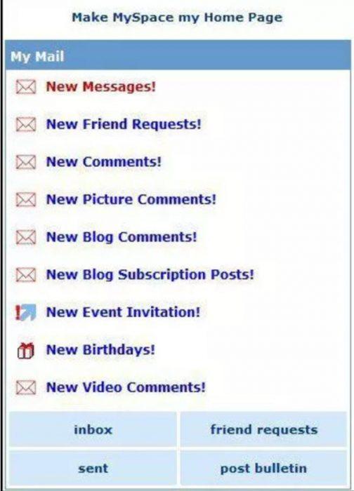 Página de inicio de MySpace