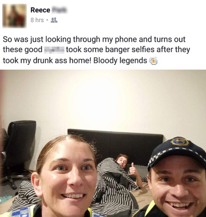 Selfie de policías con borracho
