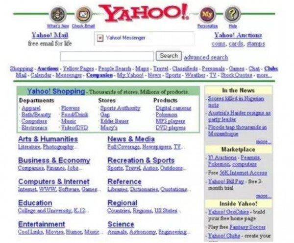 Página de inicio de Yahoo