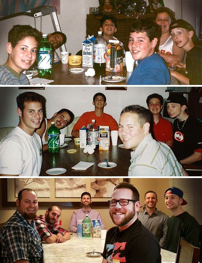 Amigos antes y después