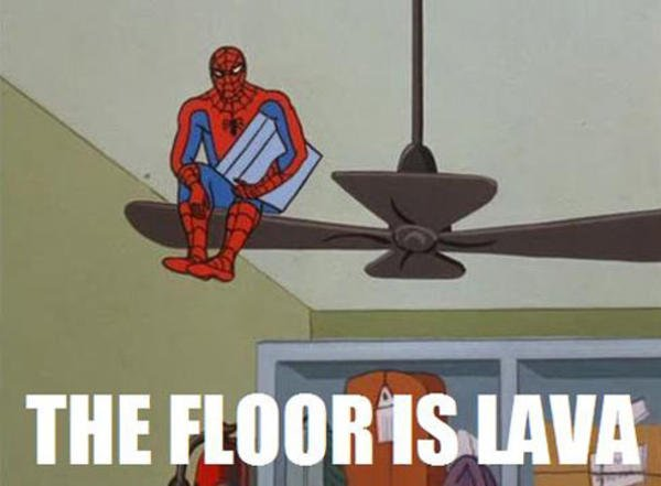 The floor is lava spiderman meme